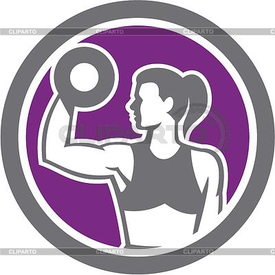 아령 무게 체육 레트로 드는 여자 | 벡터 클립 아트 |ID 4387018