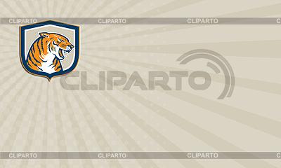 Visitenkarte Wütend Tiger Kopf sitzt Growling | Illustration mit hoher Auflösung |ID 4437066