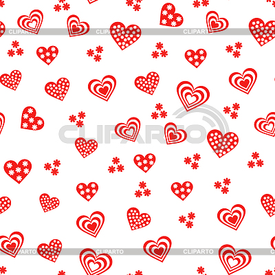 Seamless pattern with various red and white hearts | Klipart wektorowy |ID 4134078