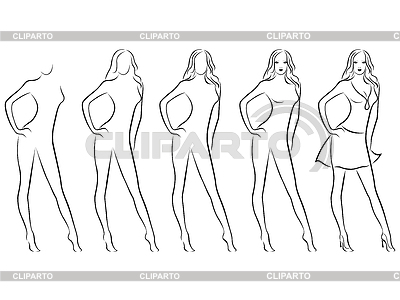Beautiful female contour in drawing sequence | 벡터 클립 아트 |ID 4272953