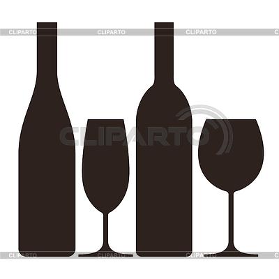 Butelki i kieliszki wina i szampana | Klipart wektorowy |ID 4112899