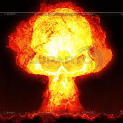 Atomexplosion mit Totenkopf | Illustration mit hoher Auflösung |ID 4404234