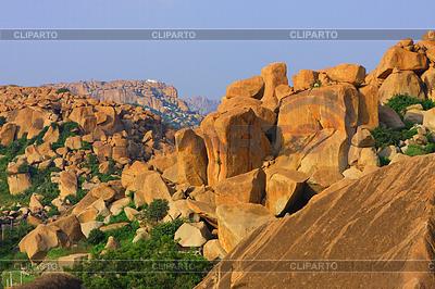 Indie Karnataka Hampi Roks Krajobraz | Foto stockowe wysokiej rozdzielczości |ID 4147996