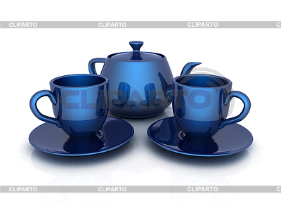 3D-Tassen und Teekanne | Illustration mit hoher Auflösung |ID 4238367
