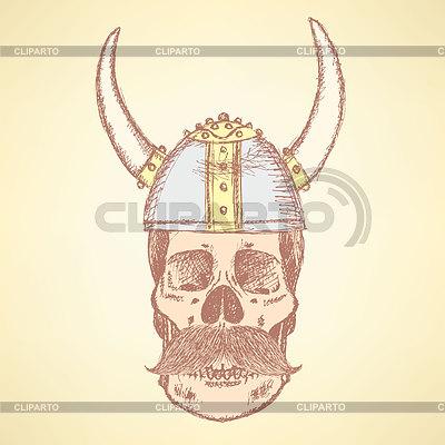 Sketch schädel in wikinger helm und mit schnurrbart lily