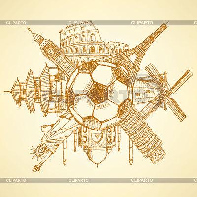 Berühmte Architektur Gebäude rund um Fußball-Ball   Illustration mit hoher Auflösung  ID 4400148