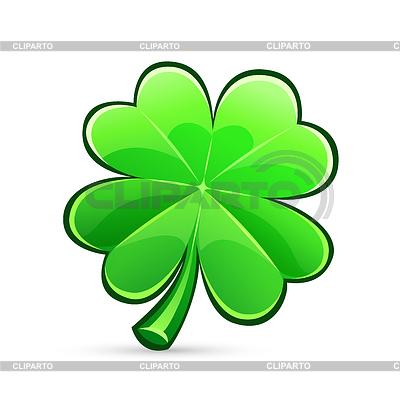StPatricks Days Symbol Glnzend Vierblttrige Kleeblatt Isoliert