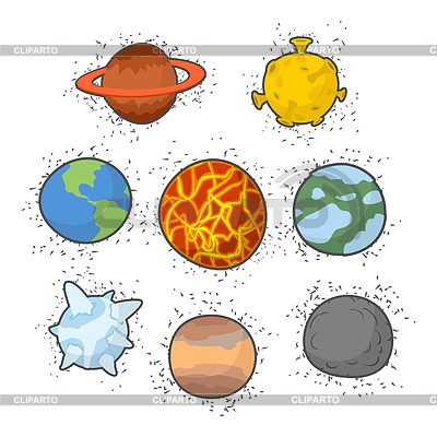 Solar System Cartoon wall stickers for kids rooms Stars