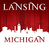 Lansing Michigan city silhouette red background