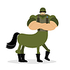Vector clipart: Centaur soldier in helmet. Military mythical